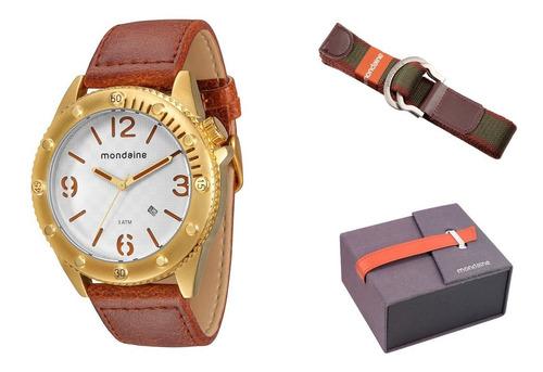 Relógio Mondaine Pul. Couro + Cinto + Estojo 76411gpmgdh2k1