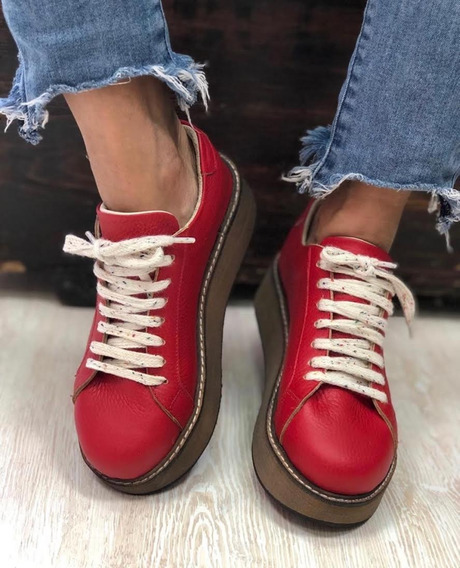 Zapatillas Mujer Sneakers Cuero Emilia Invierno 2019