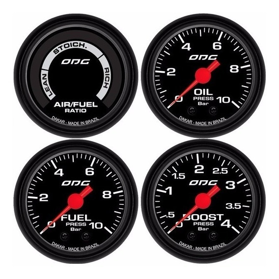 Kit Odg Dakar Manometros Oil Fuel Boost E Hallmeter 52mm