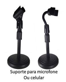 Suporte De Mesa Para Microfone E Celular Mini Pedestal