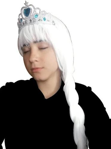 Peluca Frozen Elsa + Corona + Cetro