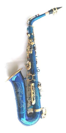 Saxofone Alto Mib Azul Com Douradas Halk Completo