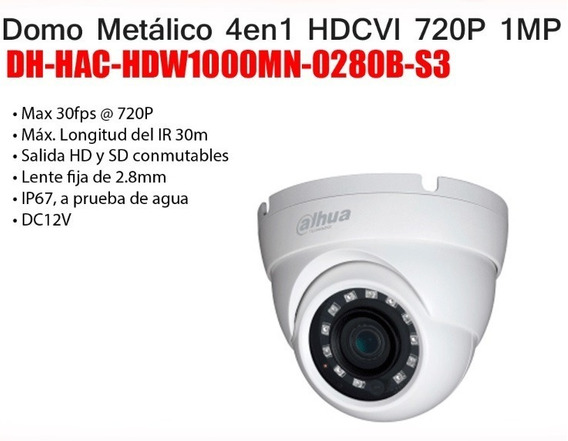 Dahua Premium Camara 4 En 1 720p Domo Metalico 2,8mm Ip67