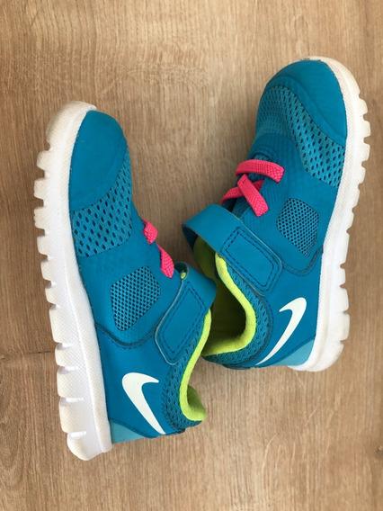 Nike Tênis Infantil Tamanho 20 Azul Verde Rosa Branco