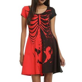 05b76b167a Vestido Rojo Con Negro Spandex Mujer Talla S-m Gothic Punk