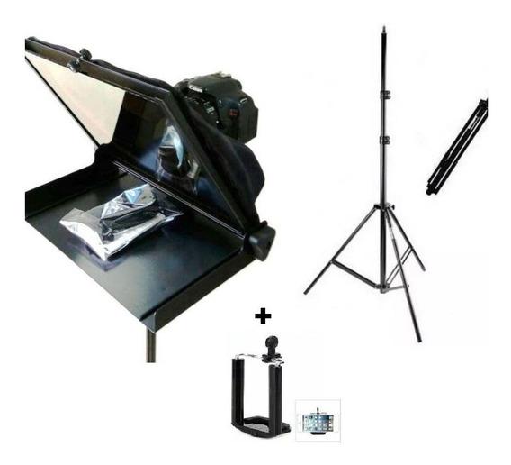 Tele-prompter Portátil Com Tripé P/ Tablet Ou Tela