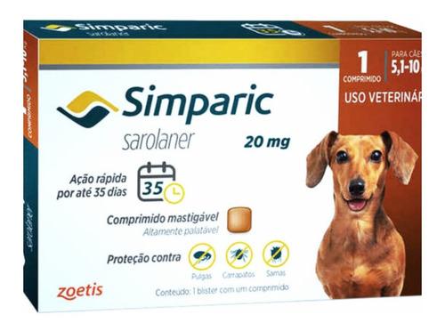 Imagem 1 de 4 de Simparic 20mg 5 A 10kg C/ 1 Comprimidos Mastigáveis - Zoetis