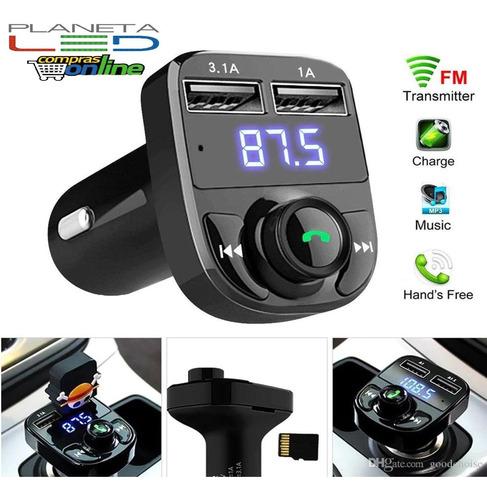 Imagen 1 de 2 de Adaptador Auxiliar Bluetooth Para Carro Mp3 Led Tarjeta Tf