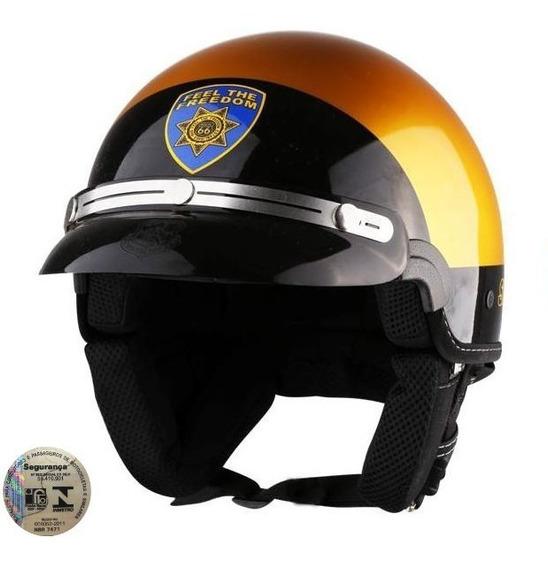Capacete Kraft Custom Sheriff Dourado - Inmetro Original
