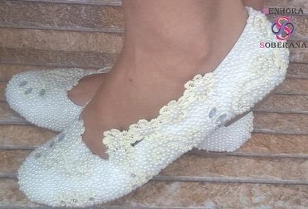 Sapatilha Marfim Trabalhada Exclusivo (noivas) (debutantes)