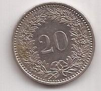 Suiza Moneda De 20 Rappen Año 1982 !!