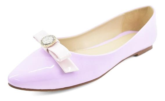 Zapatos De Mujer Flats Perlob Eclat Lila-forro De Piel