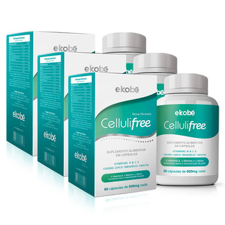 Kit 3x Cellulifree Anti Celulite 60 Cápsulas Ekobé