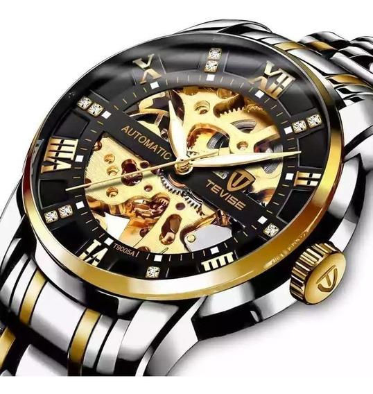 Relógio Tevise Automático Mecânico Inox T9005 Prata Dourado