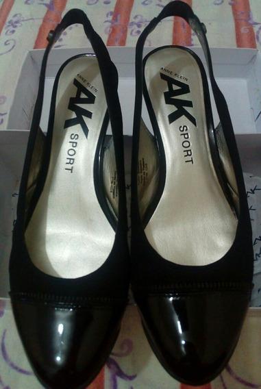 Sandalias Anne Klein Dama Zapato Liso Color Negro