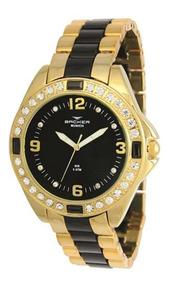 Relógio Backer Feminino Dourado E Preto Aço 3968134f Pr