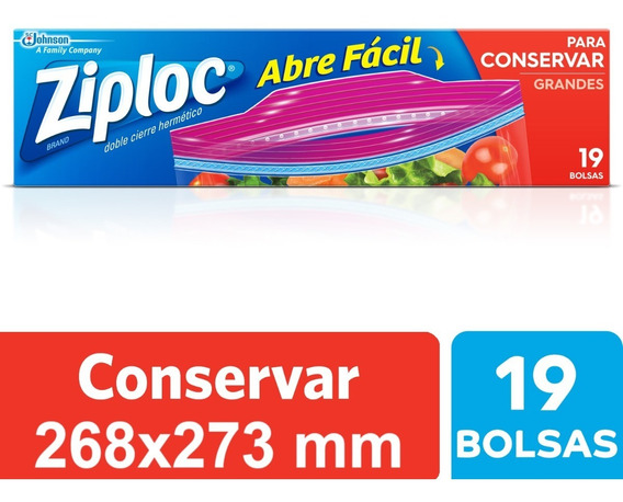 Ziploc Bolsa Conservar Grande 19 Unidades - 12 Paquetes