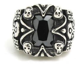 Anel Caveiras Obsidiana Aço 316l