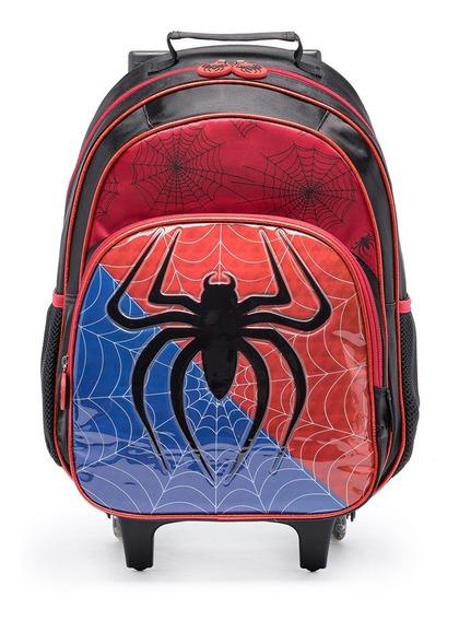 Mochila De Rodinhas Spider Infantil Escolar Menino Reforçada