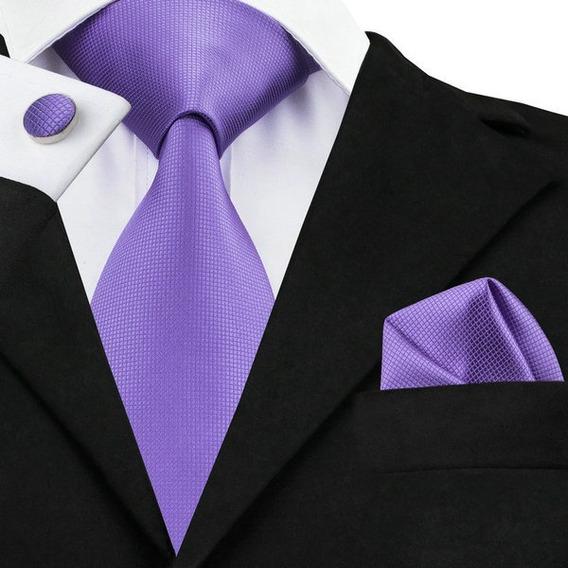 B416 Corbata Pañuelo Mancuernillas - Tono Lila - 100% Seda