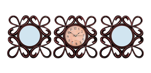 Imagen 1 de 8 de Reloj Pared Redondo Con 2 Espejos Trebol Cobre Oscuro 25cm