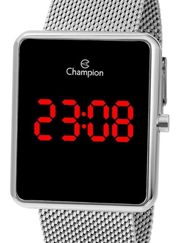 Relógio Champion Unissex Digital Quadrado Prata Original