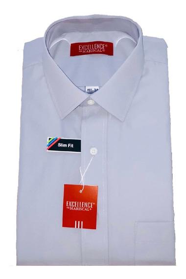 Camisa M/ L Lisa Colores Slim Fit Mariscal Ropa Moda Hombre