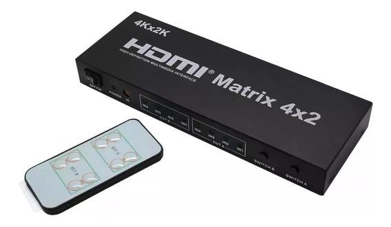 Matrix Hdmi 4 Entradas 2 Saidas 4x2 Full Hd 4k Com Controle