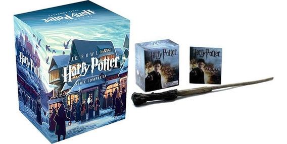 Box Coleção Harry Potter Com Os 7 Livros + Varinha Do Harry.