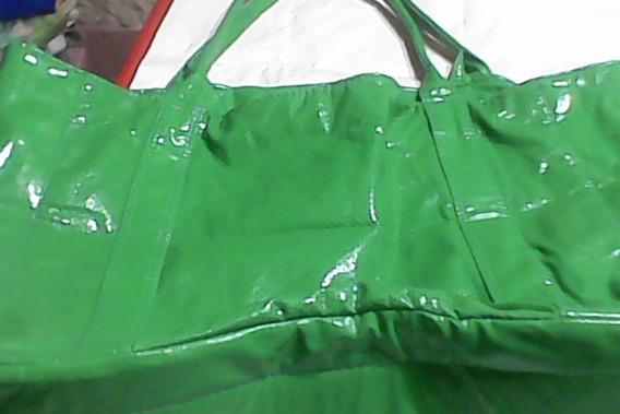 Bolso Cartera -color Verde Manzana Radiante -grande-hermoso