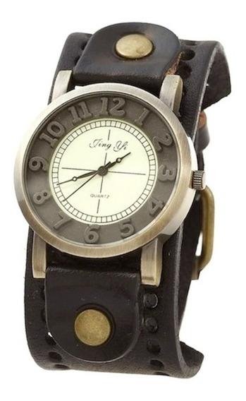 Relógio Masculino Vintage Pulseira Couro Moda Com Garantia