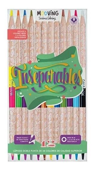 Lapices De Color Pinturitas Mooving Doble Punta 24 Colores