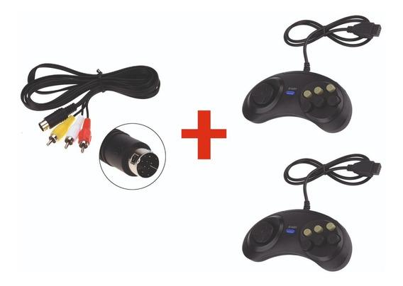 Kit 2 Controles Mega Drive + Cabo Av Mega Drive