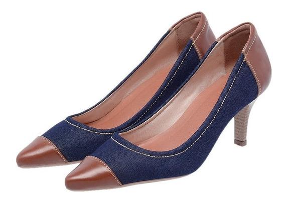Sapato Feminino Scarpan Em Couro Legítimo Salto Fino Ref3802