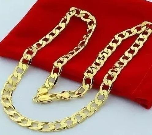 Corrente Colar Masculino 24k Banhado Ouro Luxo Chanfrada