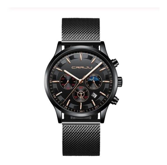Relógio Unissex Preto Aço Inoxidável Social Exclusivo Crrju