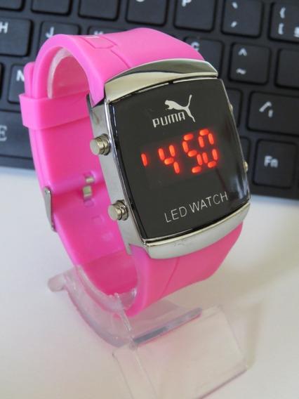 Relógio Unisex Quadrado Digital Led Rosa Novidade Top Barato
