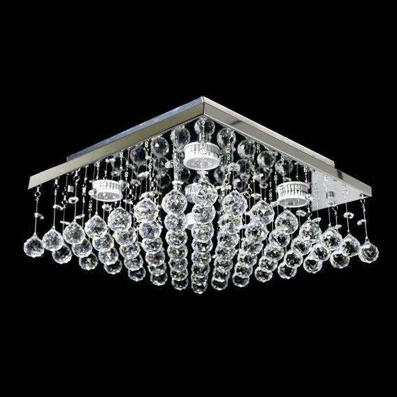 Lustre De Cristal Legítimo Modelo Plano 38x38 Melhor Preço
