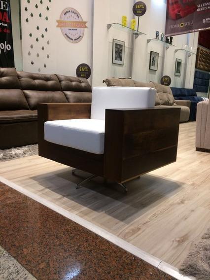 Poltrona Evidence Em Madeira Canela -giratória -sofá Cadeira