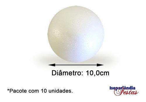 Bola Em Isopor 10cm (100mm) - Pacote Com 10un