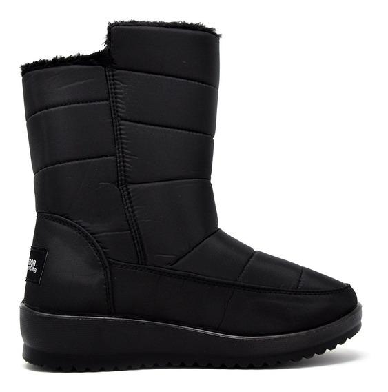 Zapatos Dama Estilo Bota Mediana Invernal 16371 Negro Furor