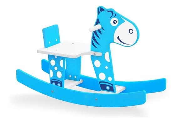 Cavalinho Cavalo Gangorra Madeira Mdf Azul Inmetro Junges