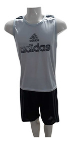 Kit C/ 2 Camisetas Regata Esportivas + 2 Bermudas Academia