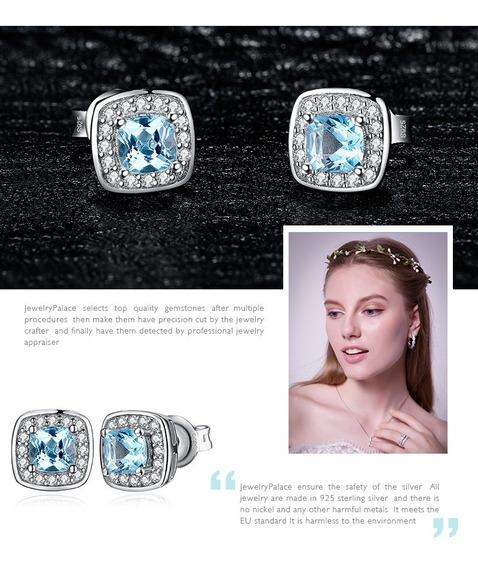 Brinco Prata 925 Feminino Pedra Natural Topázio Azul Claro