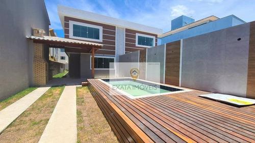 Imagem 1 de 20 de Lançamento! Casa Duplex 4 Quartos Com Piscina/ Quintal E Churrasqueira, Ouro Verde/ Rio Das Ostras! - Ca1085