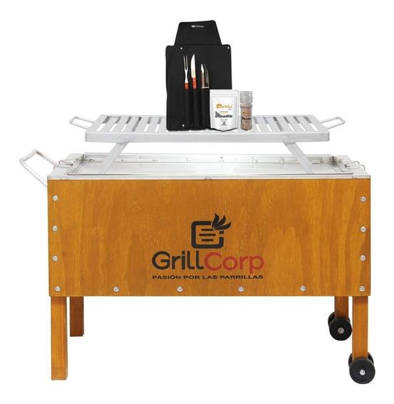 Grillcorp - Caja China Grande Inox +parr Platina +utensilios