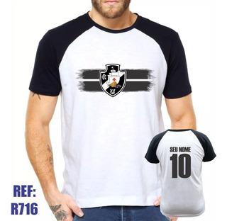 Camisa Raglan Vasco Da Gama Futebol Personalizada Com Nome