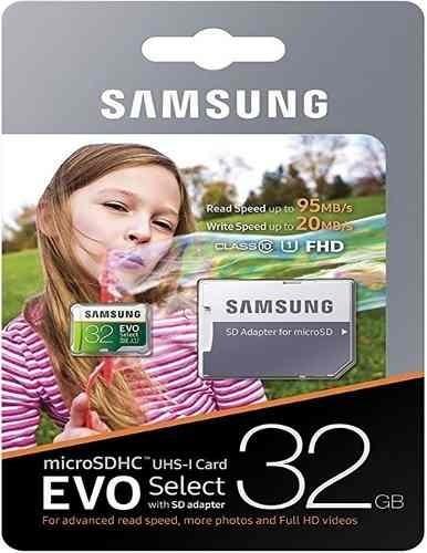 Micro Sd Card Samsung 32gb Evo Select U3 Classe 10