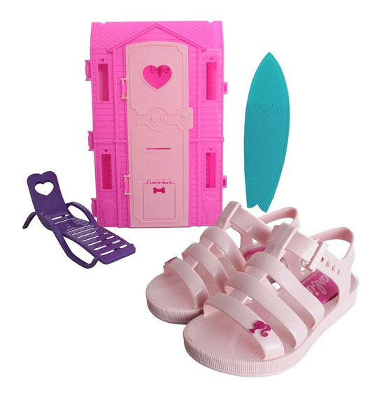 Sandália Feminina Barbie Dream House + Casa De Praia Barbie