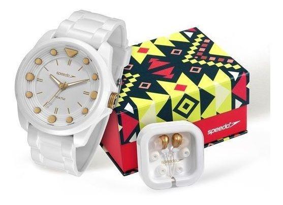 Relógio Speedo Feminino Branco E Fone Ouvido 80582l0evnp1k1